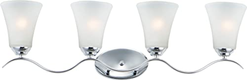 """popular Maxim 12084FTPC Vital Tall-Profile Frosted outlet sale Glass Bath Vanity 2021 Wall Mount, 4-Lights 240 Total Watts, 10""""H x 32""""W, Polished Chrome outlet online sale"""