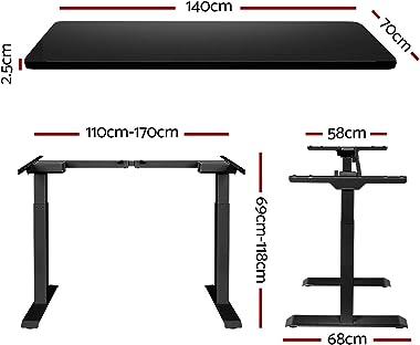 Artiss Standing Desk Sit Stand Table Riser Motorised Electric Computer Laptop Desks Dual Motors 140cm Black