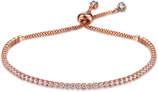 Richapex Women's Platinum Plated Silver Adjustable Cubic Zirconia Slider Tennis Bracelet with Swarovski Crystal
