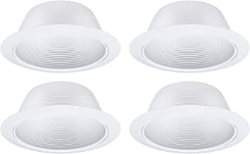 TORCHSTAR 4 Pack 6 Inch Recessed Can Light Trim with White Metal Step Baffle, for 6 inch Recessed Can, Detachable Iron Ring Included, Fit Halo/Juno Remodel Recessed Housing, Line Voltage Available