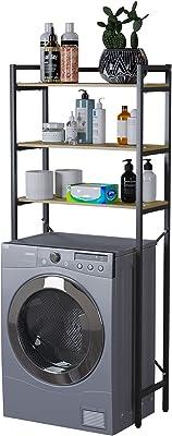 洗濯機上ラック ランドリー収納 洗濯機ラック 洗濯機に対応 可動棚 掛ける収納 ぐらつき防止 棚 収納 組立品 省スペース 各層の耐荷重は15kgです シンプル 幅63.5cm×奥行28cm×高さ150cm ブラック
