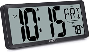 XREXS Large Digital Wall Clock, Battery Operated Alarm Clocks for Bedroom Home Decor, Count Up & Down Timer, 14.17 Inch La...