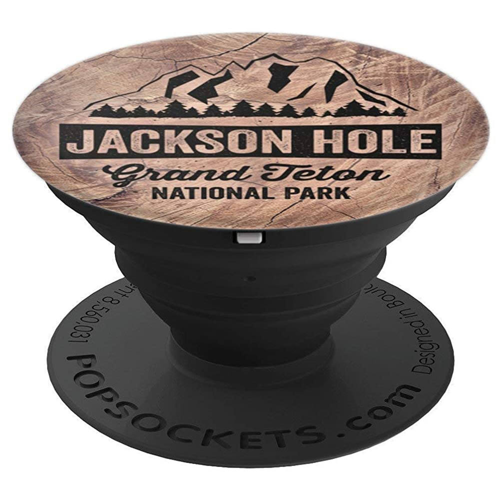 Jackson Hole Grand Teton National Park Wood Grain Pattern - PopSockets Grip and Stand for Phones and Tablets