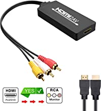 HDMI to AV Converter, 1080p HDMI to RCA 3RCA CVBs Composite Video Audio Converter Adapter Supports PAL/NTSC for TV Stick, Roku, Chromecast, Apple TV, PC, Laptop, Xbox, HDTV, DVD