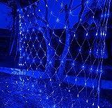 Guirnaldas Neta Luz ExteriorBlanco cálido 8 Modes Impermeable de luz de Red con Energía Iluminación para Navidad Decoración Interior Exterior con conector (8 * 10m / 2600LED, azul)