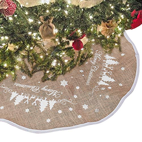 "Hootech Christmas Tree Skirt 48 Inch Burlap Tree Skirts Ornaments Xmas Decorations White Snowflake Printed for Christmas Party (48""/122cm)"