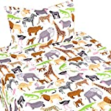 J-pinno Jungle Animals Leopard Ostrich Crocodile Snake Twin Sheet Set Bedroom Decoration Gift, 100% Cotton, Flat Sheet + Fitted Sheet + Pillowcase Bedding Set (Twin, 15)