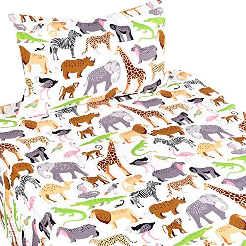 J-pinno Bettwäsche-Set mit Dschungeltieren, Leopardenmuster, Straußen, Krokodil, Schlange für das Schlafzimmer, Dekoration, Geschenk, 100 % Baumwolle, Bettlaken + Spannbetttuch + Kissenbezug
