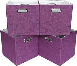 Oprass Storage Bin Folding Baskets Hard Shelf Organizer Bins (13X13X13, Purple)
