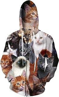 TUONROAD 3D Graphic Print Full Zip Hoodies Realistic Hooded Sweatshirt for Men & Women