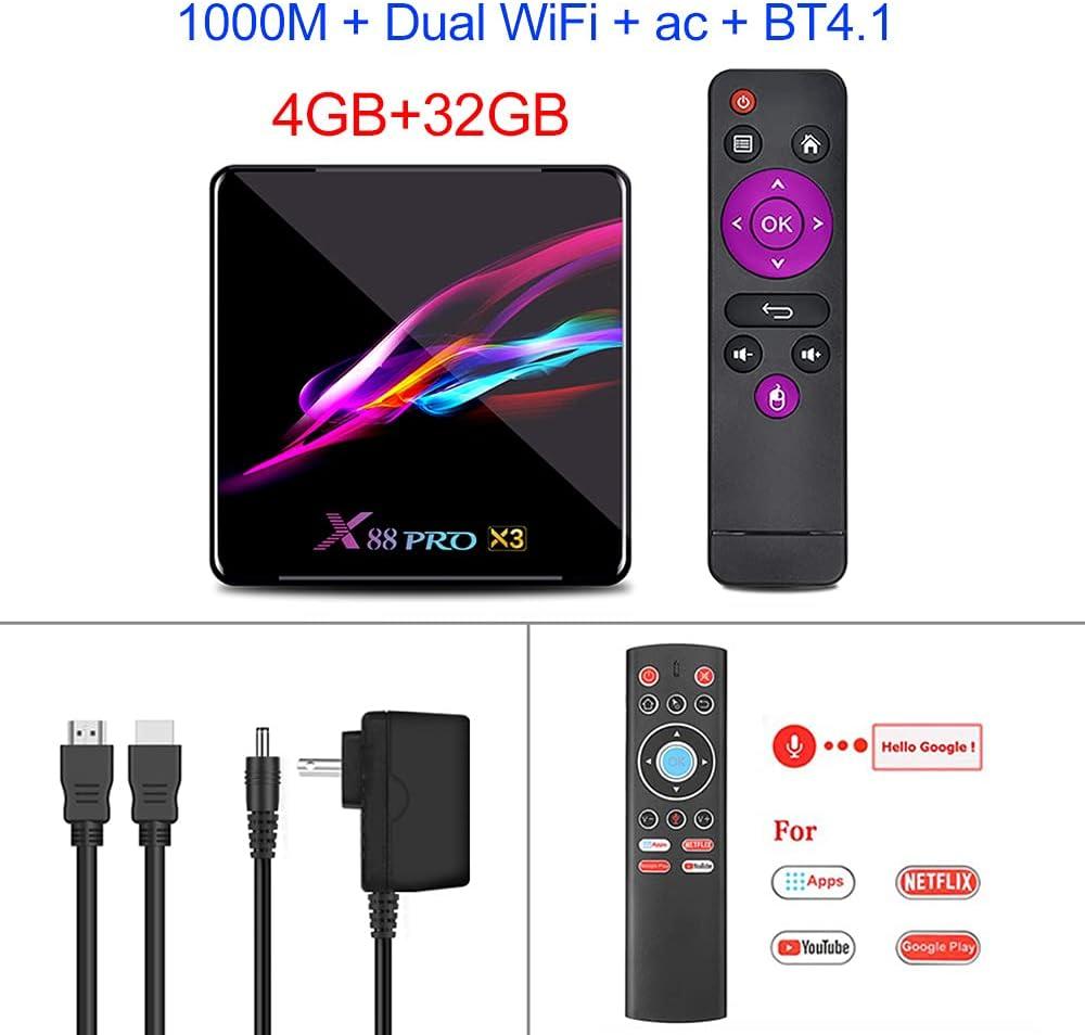 X88 PRO X3 Android 9.0 TV Box S905X3 Quad Core 1080p 4K Google Voice Assistant 2G 16G Set Top Box Black_4GB + 128GB with T1 Voice Remote Control
