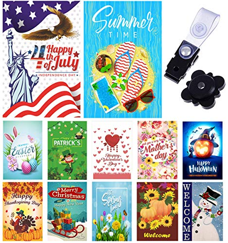 Yileqi Seasonal Garden Flags Set of 12 Double Sided Holidays Yard Flags, with Zipper Storage Bag, 4th of July Summer Garden Flag, Festive Small Flag Outdoor Decoration 12x18 Prime
