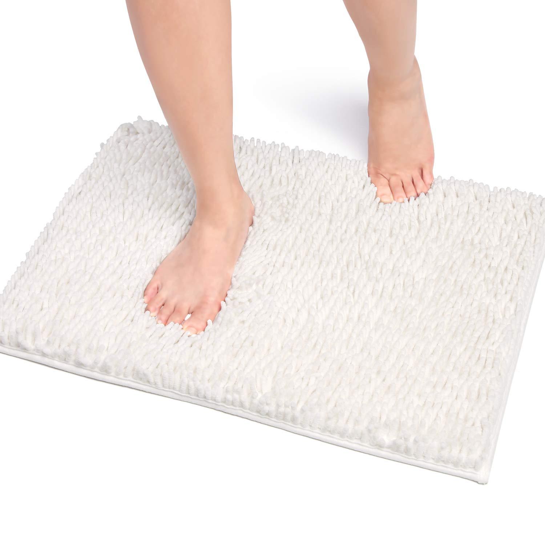 Vdomus バスマット 足ふきマット 速乾 吸水 抗菌 ふわふわ 丸洗い 風呂 浴室 玄関 マット 40x60cm (ホワイト)