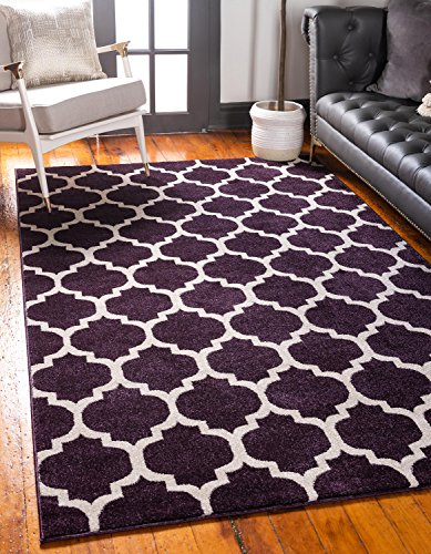 Unique Loom Trellis Collection Moroccan Lattice Purple Area Rug (8' 0 x 10' 0)