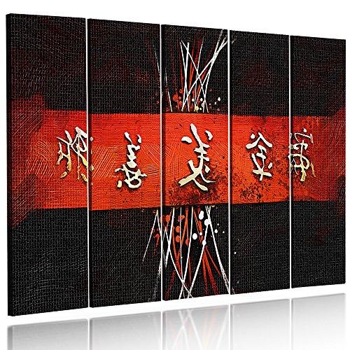 Feeby Frames, Cuadro en lienzo - 5 partes - Cuadro impresión, Cuadro decoración, Canvas Tipo C, 70x100 cm, CARACTERES JAPONESES, CIRCULOS, ABSTRACCIÓN, BLANCO, NEGRO, ROJO