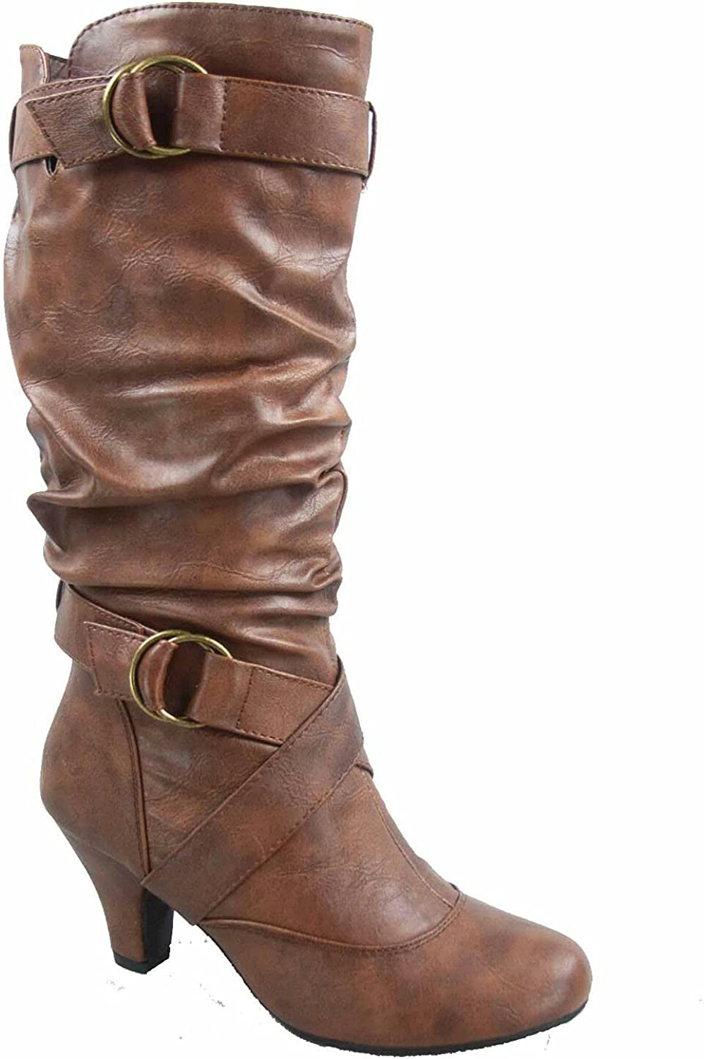 Forever Link Maggie-39 Women's Fashion Low Heel Zipper Slouchy Mid-Calf Boots Shoes (Brown, numeric_7_point_5)