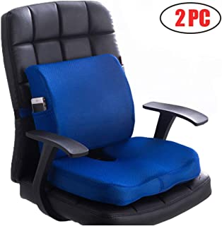 Sunfayzz Ergonomic Seat Cushion for Office Chair,Orthopedic Memory Foam Lumbar Support Pillow,Relief Lower Back,Coccyx Sciatica,Tailbone Pain,with Adjustable Strap(Blue)