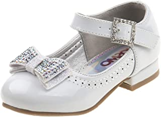 Girls Low Heel Mary Jane Ballerina Dress Shoes with Jewel Faux Buckle (Toddler/Little Girl)