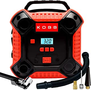 KOBB KB250 12Volt 160 PSI Dijital Basınç Göstergeli Lastik & Yatak Şişirme Pompası, Kırmızı/Siyah