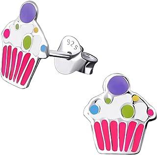 Kinder Damen Ohrstecker  Cupcake  925 Silber Kristall Ohrringe Mädchen  Törtchen