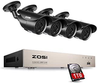 ZOSI 8 Channel 1080P Video Security System with 1TB Hard Drive and (4) 2.0MP Weatherproof Bullet Cameras with 120ft Night Vision