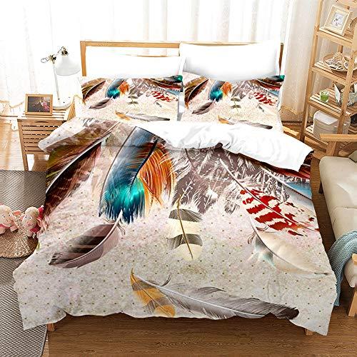 QIAOJIN Funda de edredón de plumas de colores, 3 piezas, multicolor, diseño de plumas, juego de cama de microfibra, con cremallera, para niñas y jóvenes (e,240 x 220)