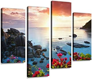 Tranquil Beach Resort, Beautiful Morning Glory on The KOH Samui Canvas Wall Art Hanging Paintings Modern Artwork Abstract Picture Prints Home Decoration Gift Unique Designed Framed 4 Panel
