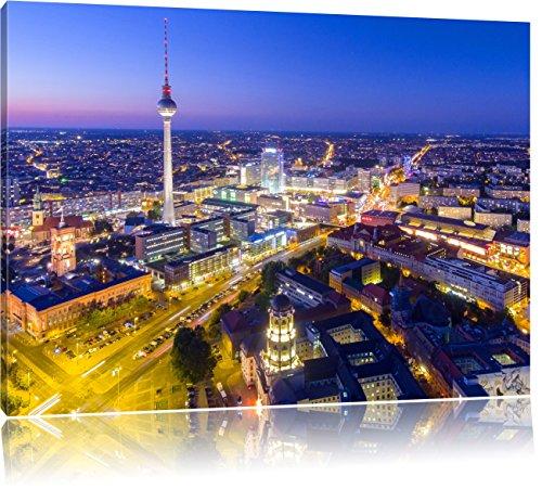 Berlin City Panorama, Format: 80x60 auf Leinwand, XXL riesige Bilder fertig gerahmt mit Keilrahmen, Kunstdruck auf Wandbild mit Rahmen, günstiger als Gemälde oder Ölbild, kein Poster oder Plakat