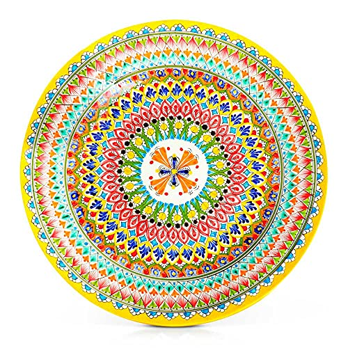 Plato de cerámica, cuenco oriental Lagan, plato para servir Rischtan, amarillo, pintado a mano, 42 cm de diámetro
