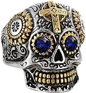 Men's Stainless Steel Gothic Biker Cross Skull Ring Vintage Flower Carved