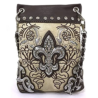 Justin West Floral Embroidery Tooled Laser Cut Rhinestone Studded Fleur De Lis CrossBody Mini Handbag Phone Messenger Purse (Beige)
