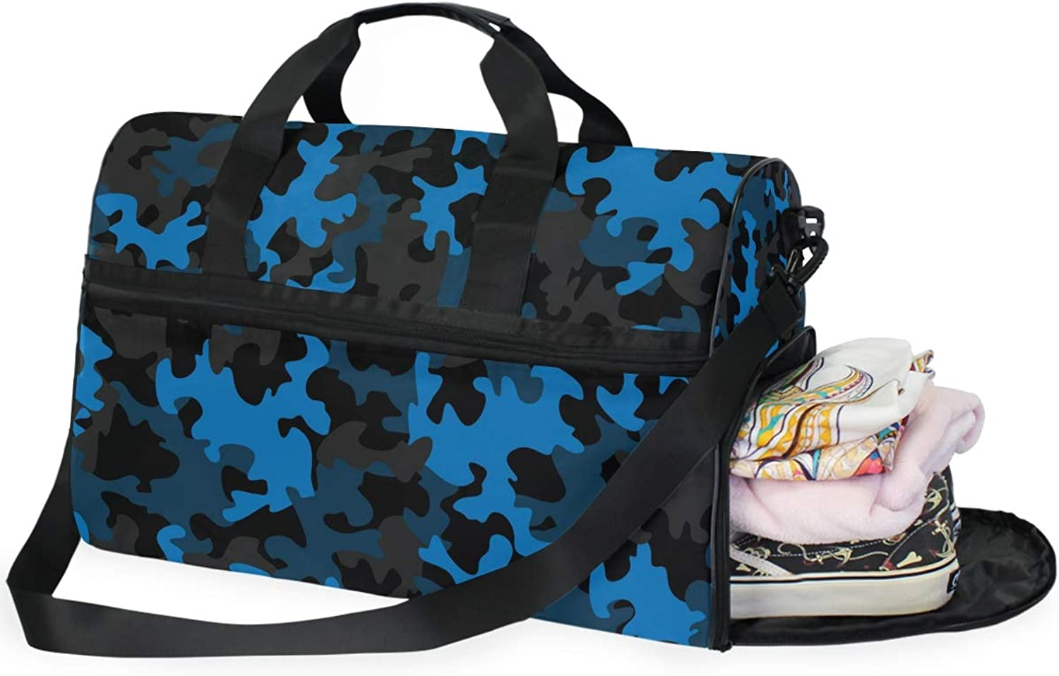 e0db8279bfa1f6 bluee Sports Gym Bag with shoes Compartment Travel Duffel Bag Men and Women  Camouflage for nzdfsc3596-Sporting goods
