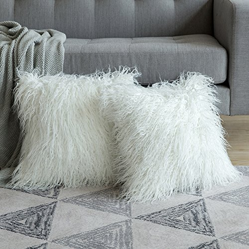 MIULEE Fluffy Cushion Cover Faux Fur Throw Soft Solid Decorative Square Plush Mongolian Cute Pillow Case For Sofa Bedroom Living room 18 x 18 Inch 45 x 45 cm White Set of 2