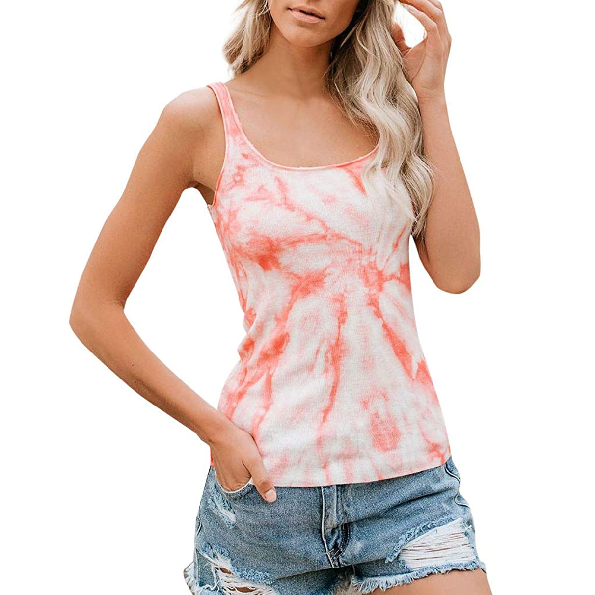 Eaktool Womens Tops,Women's Summer Casual Slim Fit Sleeveless O-Neck Tie Dyed Printed Vest