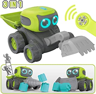 GILOBABY Remote Control Construction Team Engineering Vehicle, 3 in 1 RC Robot Car, Dance Moves, Plays Music, Light-up Eyes, Gift for Kids Age 3+