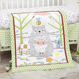Sweet Baba 4 Piece Cute Bear Crib Bedding Set,Green Crib Set for Neutral Girls and Boys,Microfiber Printed Nursery Bedding...