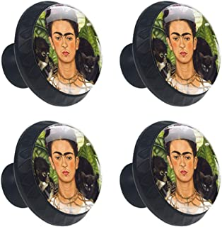 4 Pcs 35mm Cabinet Knobs Frida Kahlo Self-Portrait with Thorn Necklace and Hummingbird Round Furniture Drawer Handles Dresser Cupboard Pulls with Screws for Home, Kitchen, Bathroom (1-3/8 Inches)