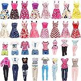 Festfun 10 Vêtements Fashionistas de Poupée 5 Vêtements Chics (5 Tops + 5 Pantalons) + 5 Robes Belles pour Poupée Fille de 11,5 Pouce