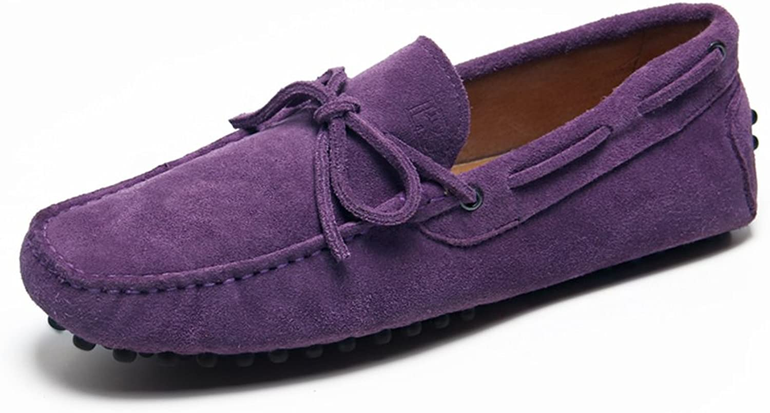 QIDI Peas shoes Male Trend Frosted Breathable Non-slip Single shoes (color   PURPLE, Size   EU41 UK7.5-8)