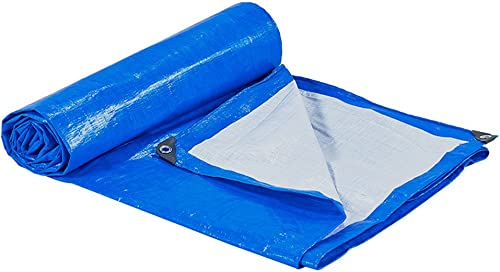 BJL Baches Tente épaisse Tissu Imperméable Camping Camping Bache en Plastique Ombre Tissu Couverture De La Poussière - épaisseur De La Crème Solaire 0.3mm 170g   M2 Bleu ++ (Taille   6x10m)