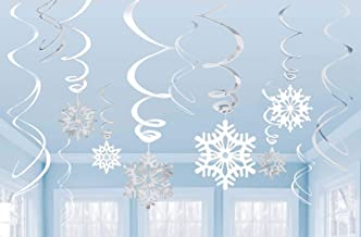 Snowflakes Silver & White Ceiling Swirls Dangling Christmas Decorations (Pack of 12 Swirls)