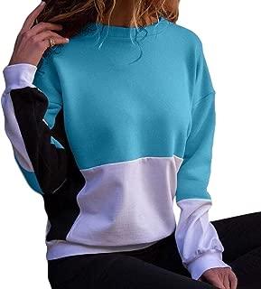 Women's Casual Crew Neck Color Block Long Sleeve Pullover Sweatshirt