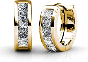 Cate & Chloe Giselle 18k White Gold Plated Crystal Hoop Earrings with Swarovski, Beautiful Sparkling Silver Small Hoops Earring Set, Wedding Anniversary Fashion Jewelry - Hypoallergenic