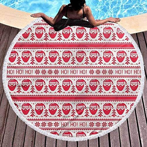 DWzinng Toalla de Playa Redonda,Elegante, Elegante y de Secado rápido.Nordic Travel Toalla de Playa Ho Ho Ho Santa Stitch Blanket (Diámetro 150cm)