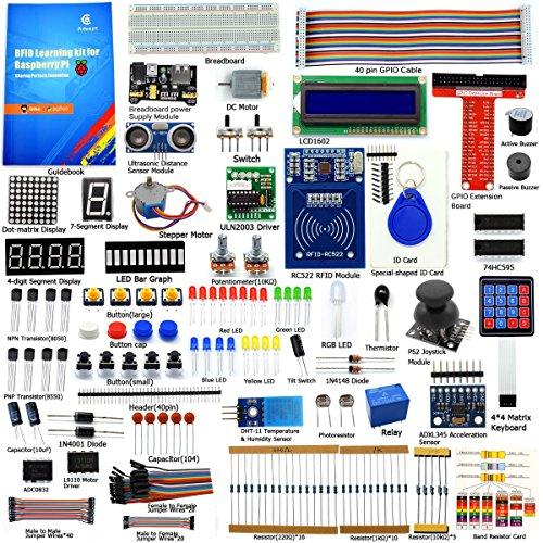 Adeept RFID Starter Kit f¨¹r Raspberry Pi 4/3/2 Modell B/B+ Schrittmotor ADXL345 40-polige GPIO-Erweiterungskarte mit C- und Python-Code, Raspberry Pi Starter Anf?nger/Lernkit mit PDF