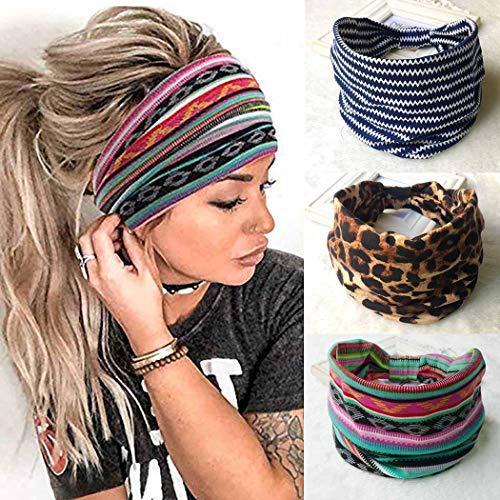 Zoestar - Fascia larga per capelli stile boho, per yoga, a righe, annodato, per testa turbante, stile vintage e spesso, per donne e ragazze (confezione da 3)
