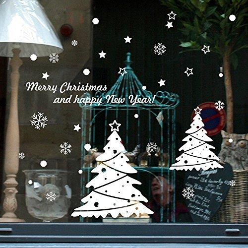 DAY8 Stickers Muraux Noël Décoration Vitre Fenêtre Autocollants Noël Bébé Fille Déco Noël Enfants Garçon Chambre Salon Wall Stickers Noël (25 * 35cm, A)