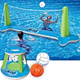 """Inflatable Volleyball Net & Basketball Hoops Green & Blue Pool Float Set; Balls Included for Kids and Adults, Summer Pool Game, Summer Floaties, Volleyball Court (105""""x28""""x35"""")