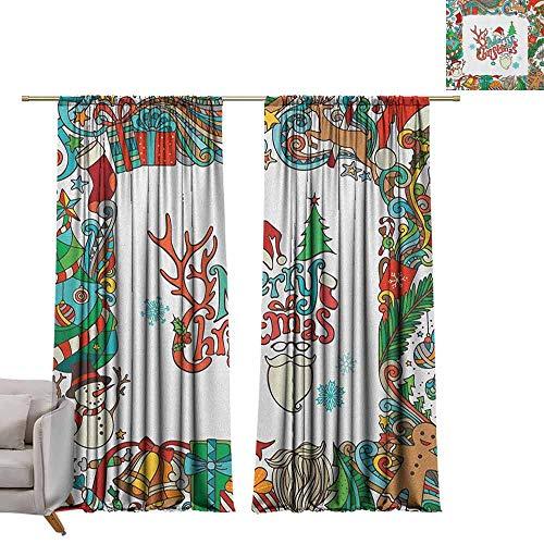Tr.G Decor kamer donkerder brede gordijnen isolerende kamer donker verduistering Drapes Kerstmis, klassieke slinger ontwerp met sparranches grenzen met Poinsettia bloemen goud wit groen