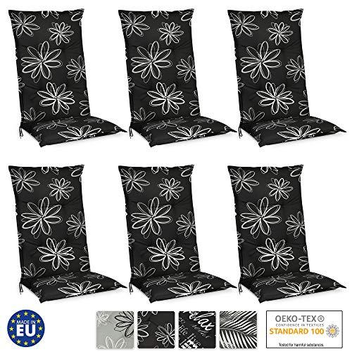 Beautissu Flores Hochlehner Auflagen 6er Set für Gartenstühle – Sitzpolster 120x50 cm Polsterauflagen UV-Lichtecht – Stuhlauflagen schwarz mit Blumen